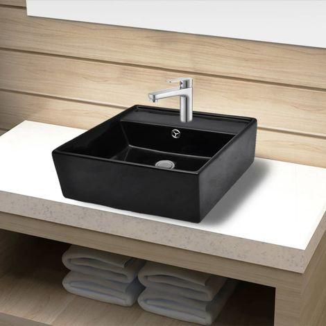 Ceramic Bathroom Sink Basin Faucet /Overflow Hole Black Square