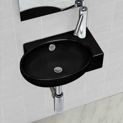 Ceramic Bathroom Sink Basin Faucet & Overflow Hole Round Wall Hung Oval Fixture Bathroom Washroom Powder Room Toilet Cloakroom White/Black