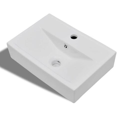 Ceramic Bathroom Sink Basin Faucet/Overflow Hole White Rectangular