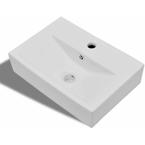 Ceramic Bathroom Sink Basin Faucet/Overflow Hole White Rectangular QAH04210