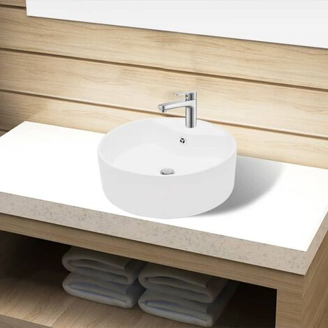 Ceramic Bathroom Sink Basin Faucet/Overflow Hole White Round - White