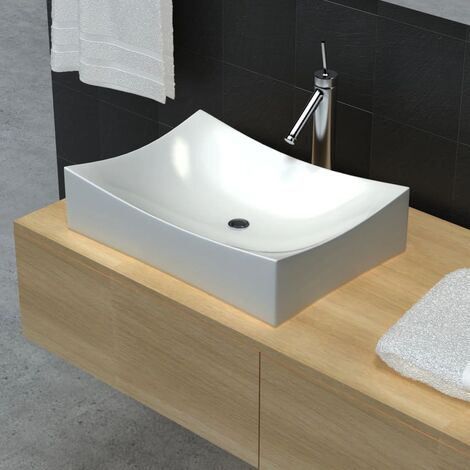 Ceramic Bathroom Sink Basin Porcelain Rectangular High Gloss Vessel Art Washbasin Counter Top Washroom Powder Room Toilet Cloakroom White/Black