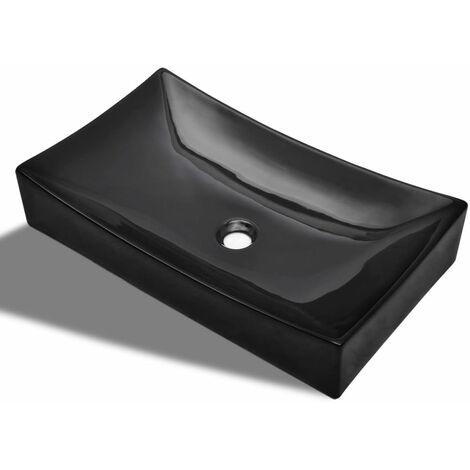 Ceramic Bathroom Sink Basin Porcelain Rectangular High Gloss Vessel Art Washbasin Counter Top Washroom Powder Room Toilet Cloakroom White/Black