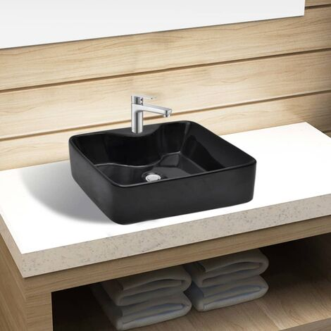 Ceramic Bathroom Sink Basin with Faucet Hole Black Square - Black