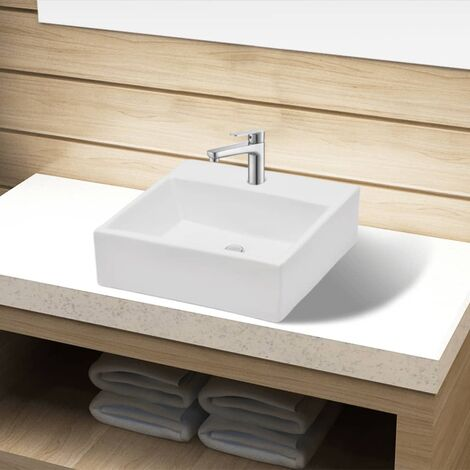 Ceramic Bathroom Sink Basin with Faucet Hole White Square - White