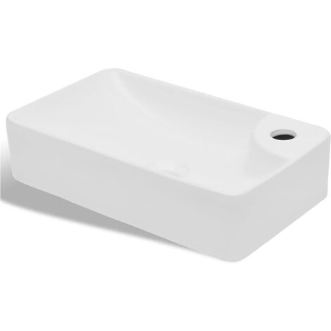 Ceramic Bathroom Sink Basin with Faucet Hole White - White
