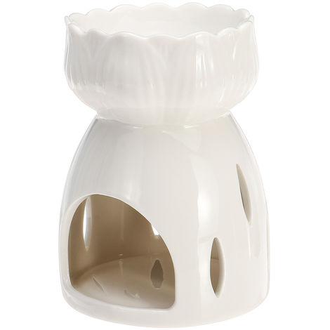 Ceramic Candlestick Holder White Lotus Censer