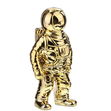 Ceramic Sculpture of Space Man Astronaut Cosmonaut Vase Ornament Statue Silver Jars