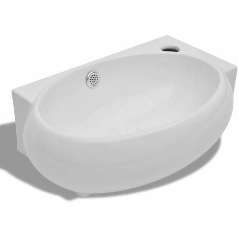 Ceramic Sink Basin Faucet & Overflow Hole Bathroom White QAH03679