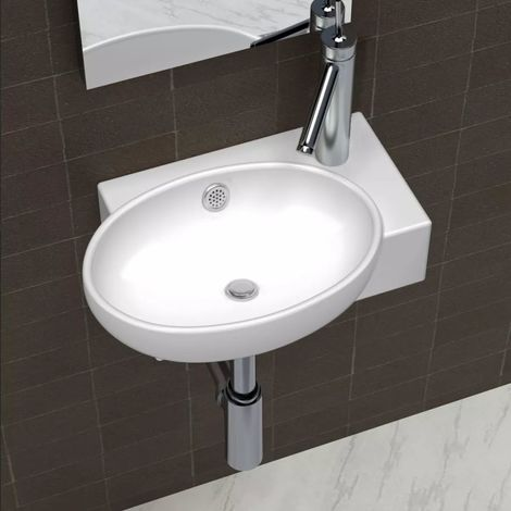 Ceramic Sink Basin Faucet & Overflow Hole Bathroom White VD03679