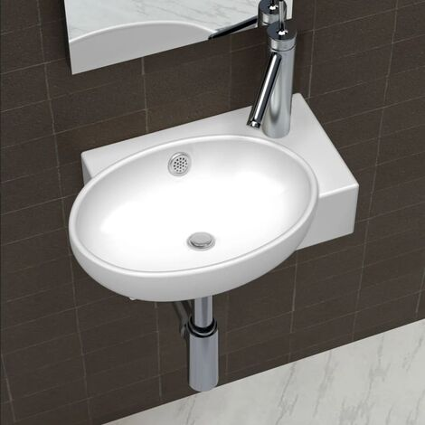 Ceramic Sink Basin Faucet & Overflow Hole Bathroom White - White