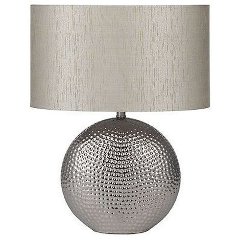 Ceramic Table Lamp Hammered Base Chrome Finish Silver Oval Shade