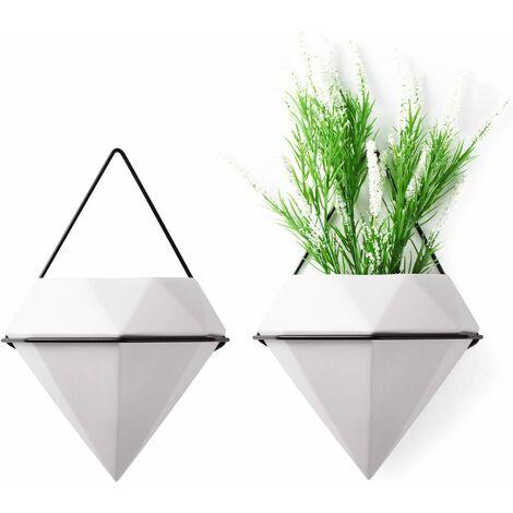 "main image of ""Ceramic Wall Planter Wall Plant Holder Flower Pots Set of 2 - White Diamond Shape, Hexagonal Hanging Pot for Aloe Grass Orchid Wedding Decoration Home Garden"""