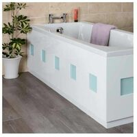 Ceramica Frosted Square Bath Side Panel Contemporary White 1700mm