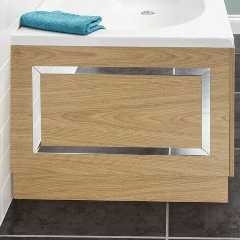 Ceramica Horizontal Stripe Bath End Panel Oak 700mm