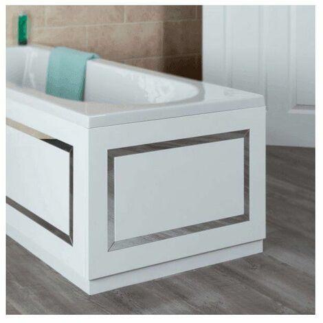 Ceramica Horizontal Stripe Bath End Panel White 700mm