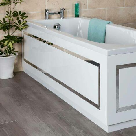 Ceramica Horizontal Stripe Bath Side Panel White 1700mm