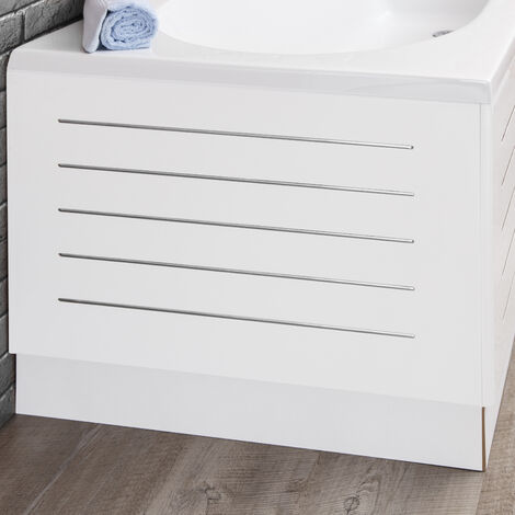 Ceramica White Stainless Steel Strip Bath End Panel 700mm