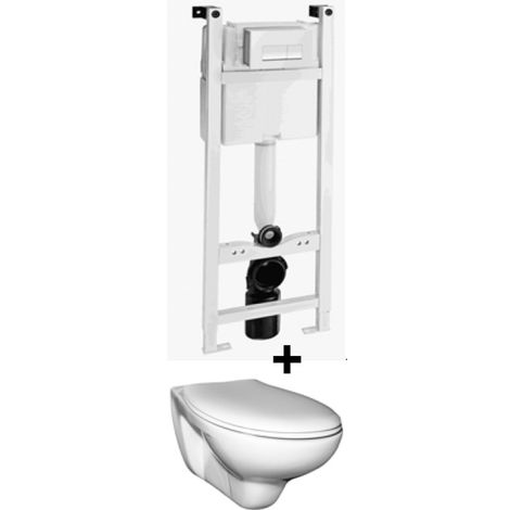 Ceravid Wand WC Tiefspüler hänge WC inkl. Unterputz Spülkasten Trockenbau, Ceravid, C07034000