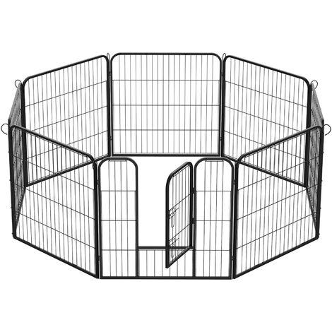 Cercado para Perros y Gatos con Puerta - 8 Vallas de 80 x 100 cm Negro