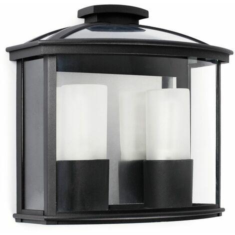 CERES Aplique de pared exterior - Negro - 2 luces