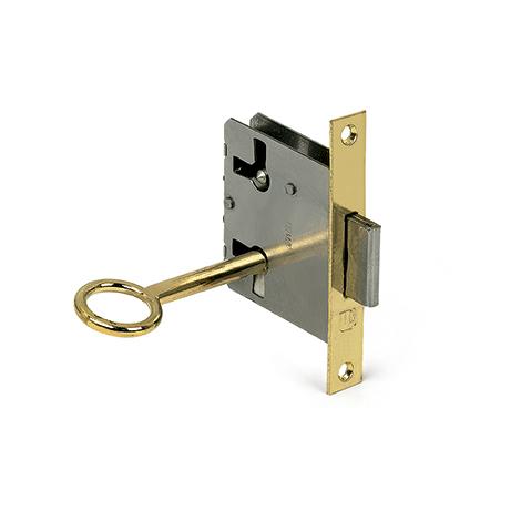 Cerradura con llave para puerta, fabricada en acero y con acabado latonado. Ref. 205A.20