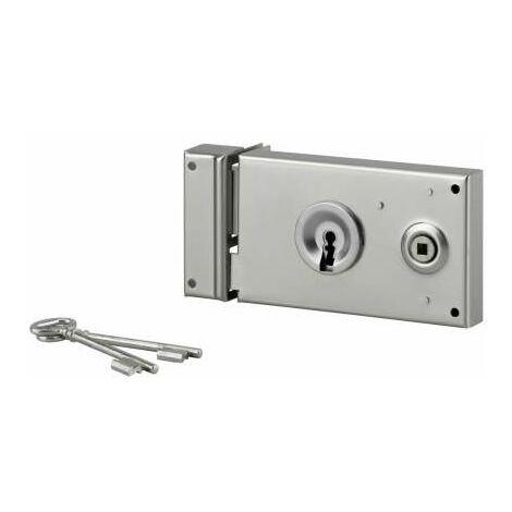 Cerradura de rejilla, cerrojo de media vuelta, zincado, 140x82, izquierda