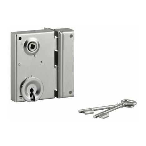 Cerradura de rejilla, cerrojo de media vuelta, zincado, 70x110, derecha.
