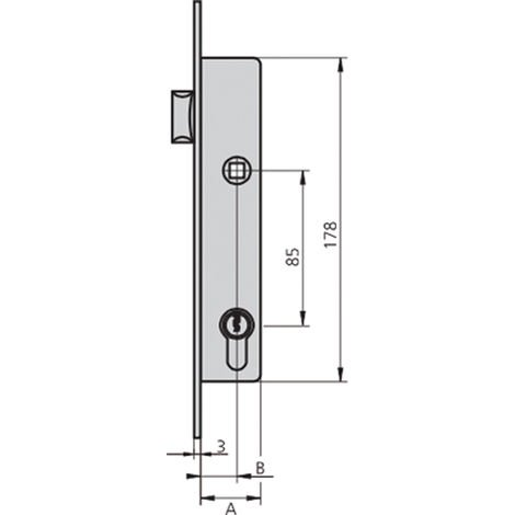 Cerradura embutir acero inox CVL 1984T-25/6 AI