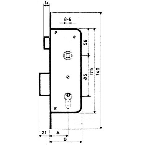 Cerradura Embutir F/ Laton - MCM - 1601/2 - 60 MM