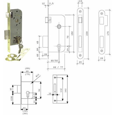 Cerradura embutir madera. Mod. 2031