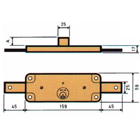 Cerradura Embutir Persiana Zn - MCM - 1511-AV - 59X159 MM