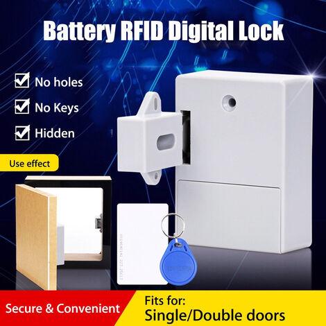 Cerradura inteligente del cajon del gabinete del sensor de la tarjeta RFID inteligente, cerradura digital invisible de bricolaje, sin orificio perforado