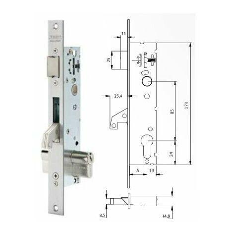 Cerradura Metalica Embutir 25X25Mm 2241Be253Ai Inox Gancho Tesa