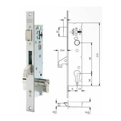 Cerradura Metalica Embutir 25X30Mm 2241Be303Ai Inox Gancho Tesa