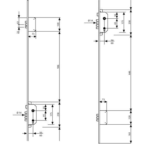 Cerradura Seguridad 3 PUNTOS - T60 - Acero Inoxidable - Tesa 50 Mm Tlb3/56/6lai
