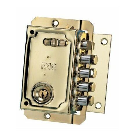 Cerradura Seguridad Sobreponer 144X90Mm 11005 Dorado Picaporte/4Pasadores Derecha Fac