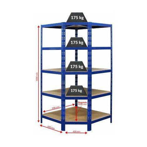 Certeo Schwerlastregal | Eckelement | HxBxT 1800 x 900 x 600 mm | Blau