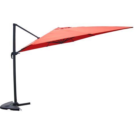 Cesare terracotta : Parasol déporté, rectangulaire de 3x4m, rotatif à 360°