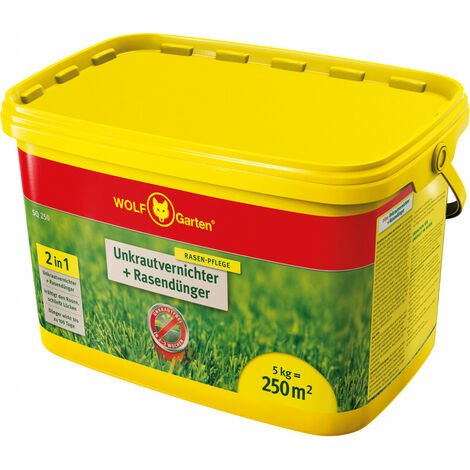 césped fertilizante herbicida + 5 kg cubo SQ 250 Wolf-Garten