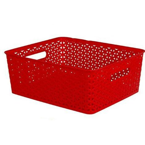 "main image of ""Cesta Almacenaje/organizadora rectangular, 4 Colores a elegir. Diseño Práctico 35X29X13,5 cm Color - Rojo"""