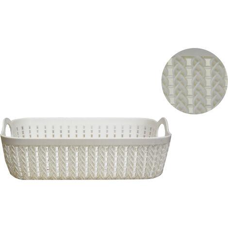 "main image of ""Cesta Almacenaje Plástico Rectangular, Almacenamiento Cajas sin Tapa 3 colores. Cesta Trenzada 26,5X20X8,5 cm"""