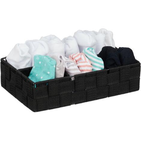Cesta de almacenaje, Cuatro compartimentos, Organizador de armario, 6,5 x 17,5 x 26 cm, 1 Ud., Negro