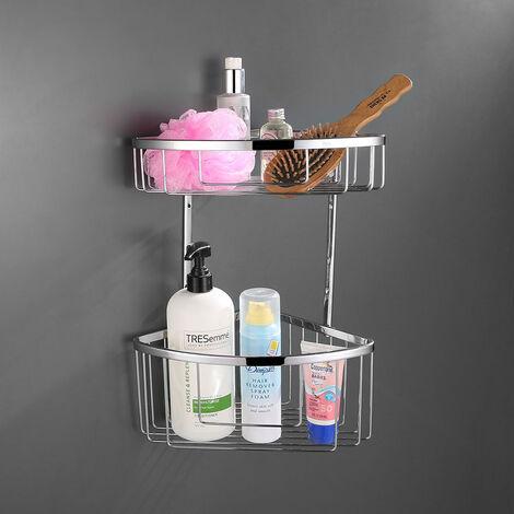 Cesta de ducha o bañera ACO doble. Diseño de esquina para aprovechar el máximo espacio. Cestas de gran capacidad para poner botes de gel, champú... Fabricada en latón Kibath