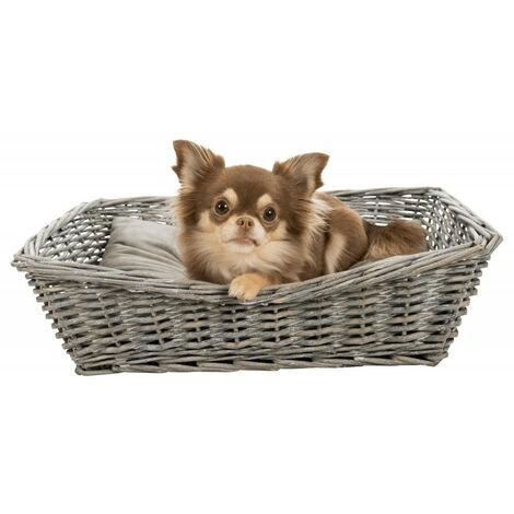 Cesta de mimbre 50 x 37 cm con cojín pequeño para perro o gato