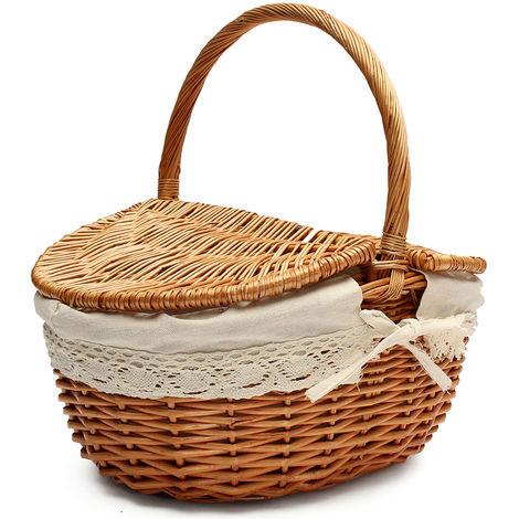 Cesta de picnic hecha a mano Cesta de almacenamiento de sauce sauce Cesta de almacenamiento con tapa y asa LAVENTE