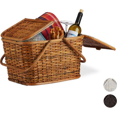 Cesta de picnic, Ratán trenzado, Interior de tela, Asas y tapa, Hecho a mano, Marrón claro