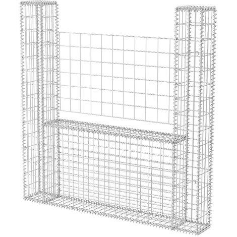 Cesta en forma de U muro de gaviones galvanizado 160x20x150 cm