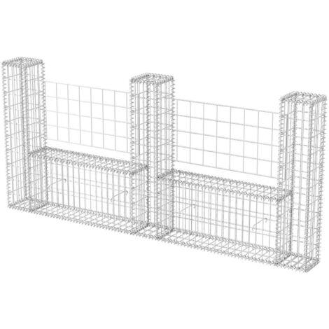 Cesta en forma de U muro de gaviones galvanizado 240x20x100 cm