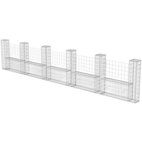 Cesta en forma de U muro de gaviones galvanizado 570x20x100 cm